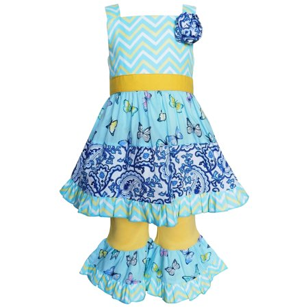 AnnLoren Girls Blue Butterfly Paisley Dress & Capri Spring Outfit Clothing