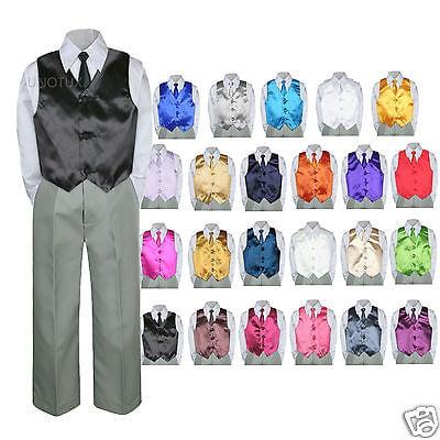 9f31872f0b9b Color Choice 4pc Vest Necktie Boy Suit Silver Set Baby Toddler Kid Formal  sz S-7