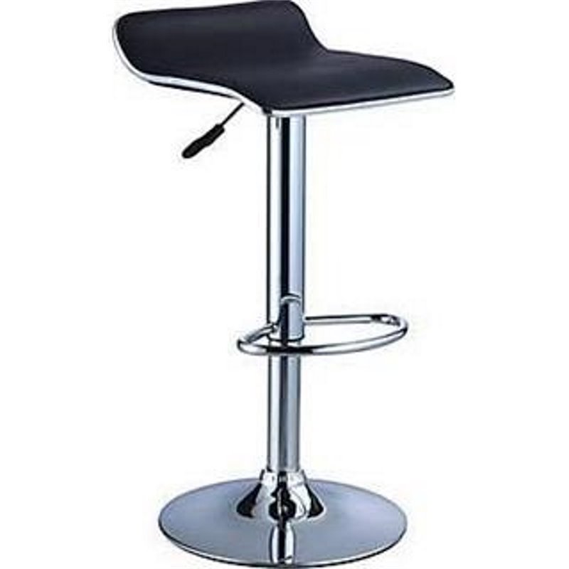 Powell Backless Bar Stool with Gas Lift, Set of 2, Black PU and Chrome by Powell Furniture