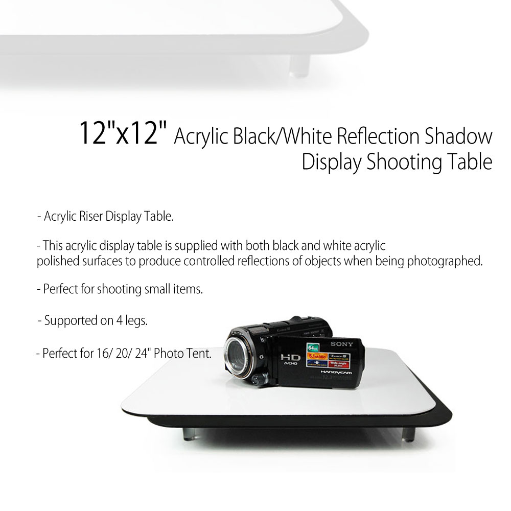 Perfect surfaces product display - 12 X12 Acrylic Tabletop Reflective Display Mat In Combo Black White For Product Photography By Loadstone Studio Wmls0142 Walmart Com