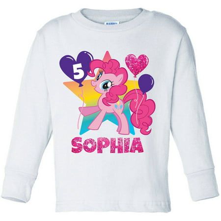 Personalized My Little Pony Pinkie Pie Birthday Toddler Girl Pink Long Sleeve Tee