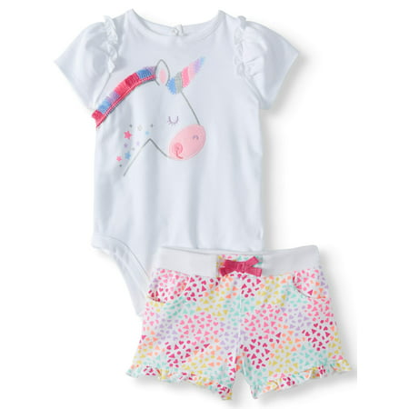 Graphic Bodysuit & Knit Denim Shorts, 2pc Outfit Set (Baby Girls) - Cute Popular Girl Outfits