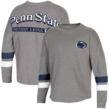 Women's Heathered Charcoal Penn State Nittany Lions Fan Oversized Long Sleeve T-Shirt Penn State Colors