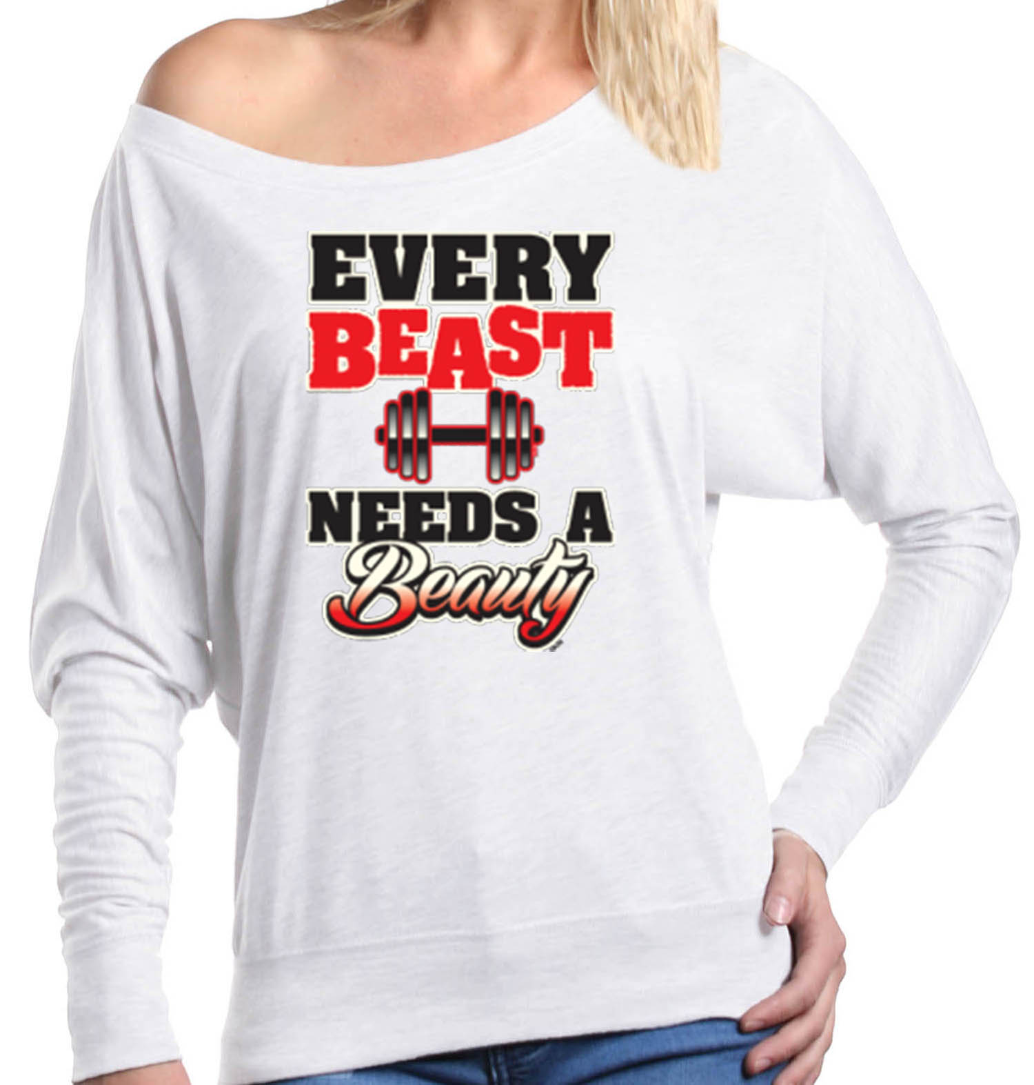Shop4Ever Women's Every Beast Needs A Beauty Fit Gym Couples Off Shoulder Long Sleeve Shirt