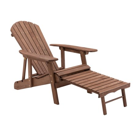 Coral Coast Hubbard Big Daddy Reclining Adirondack Chair with Pull-Out Ottoman - Dark Brown ()