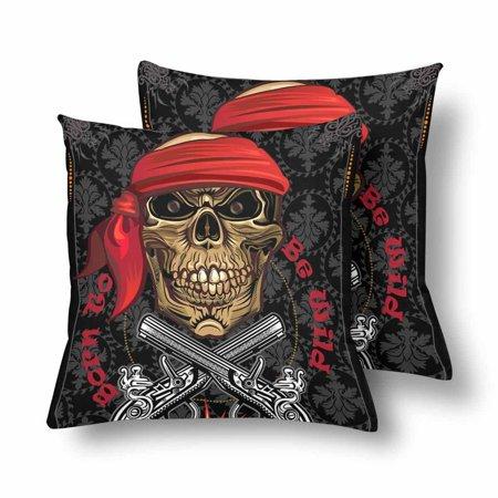 YUSDECOR Skull Born To Be Wild Music Rock Pillowcase Pillow Protector Cushion Cover 18x18 inch,Set of 2 - image 2 de 2