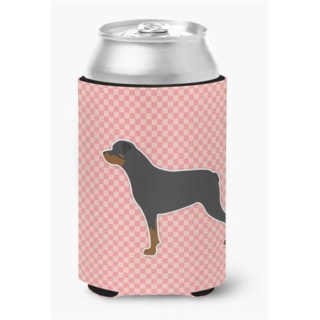 Rottweiler Checkerboard Pink Can or Bottle Hugger - Pink Checkered