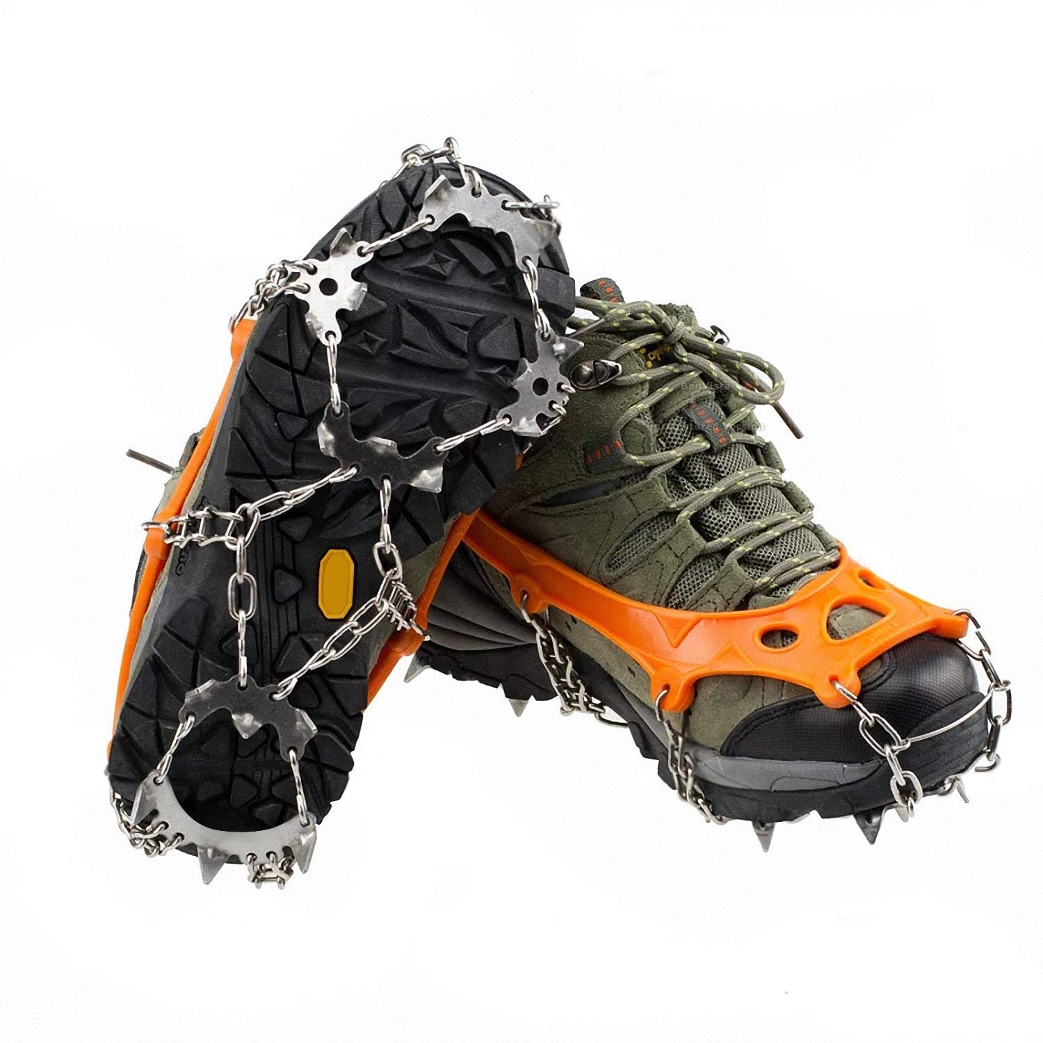 Unisex Ice Cleats Snow Spikes Crampons Anti Slip Shoes Grippers w/ 18 Teeth