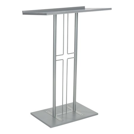 Displays2go LCTPCRSSLV Cross Podium, Floor Standing Pulpit, Slanted Top, Steel with Wood Base, Silver