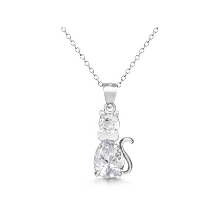 Rembrandt Cat Charm - DTLA Sterling Silver Fancy Simulated Birthstone CZ Cat Charm Pendant Necklace with 18