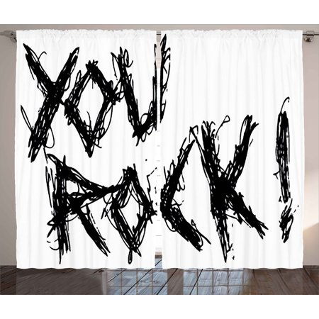 (Quote Curtains 2 Panels Set, Motivational Phrase Positive Life Day Inspiring ' You Rock ' Slogan Teen Print, Window Drapes for Living Room Bedroom, 108W X 63L Inches, Black and White, by Ambesonne)