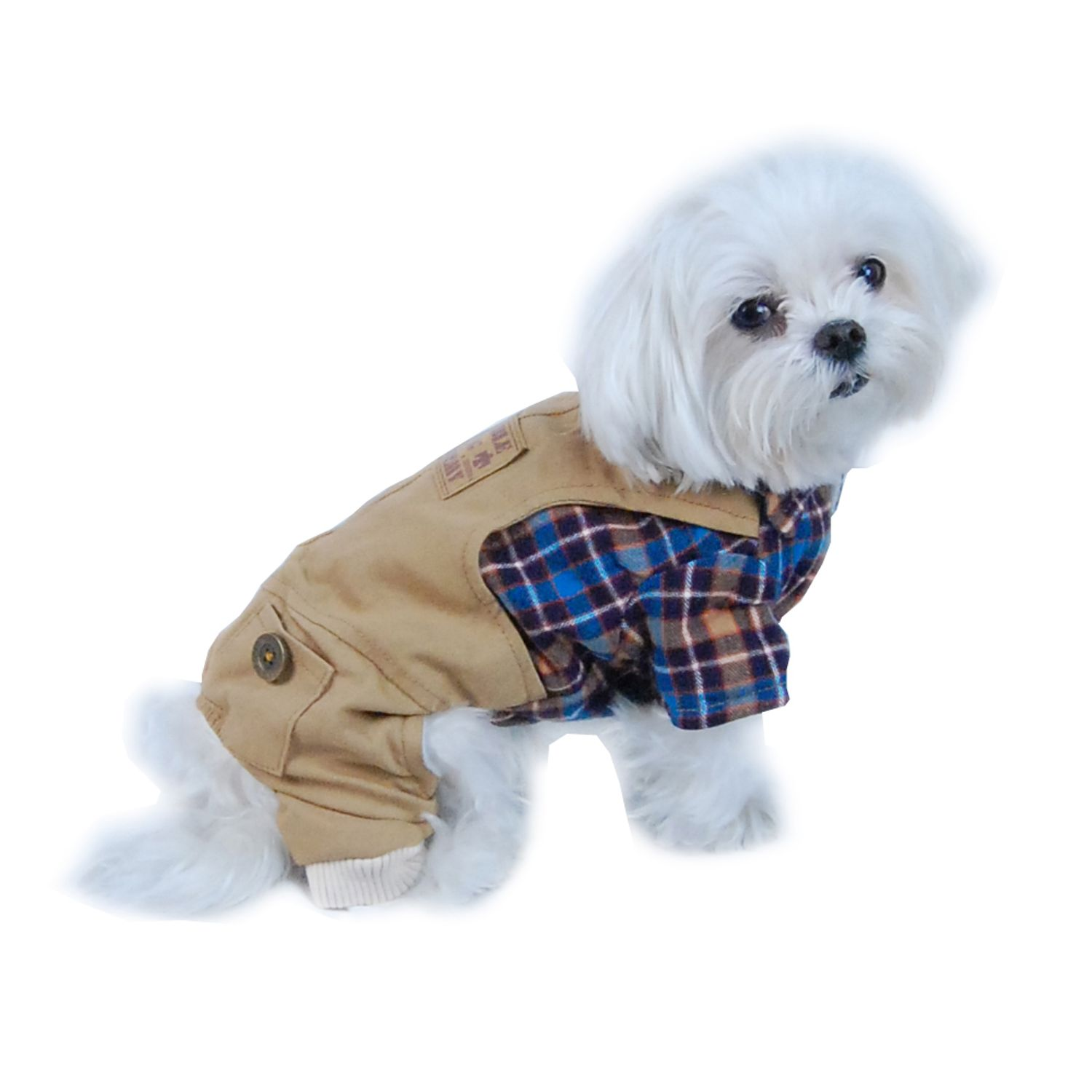 Blue/Brown Plaid Top with Denim Overalls Puppy Dog Clothing Clothes Pet Outfit (One-Piece) Apparel - Medium (Gift for Pet)