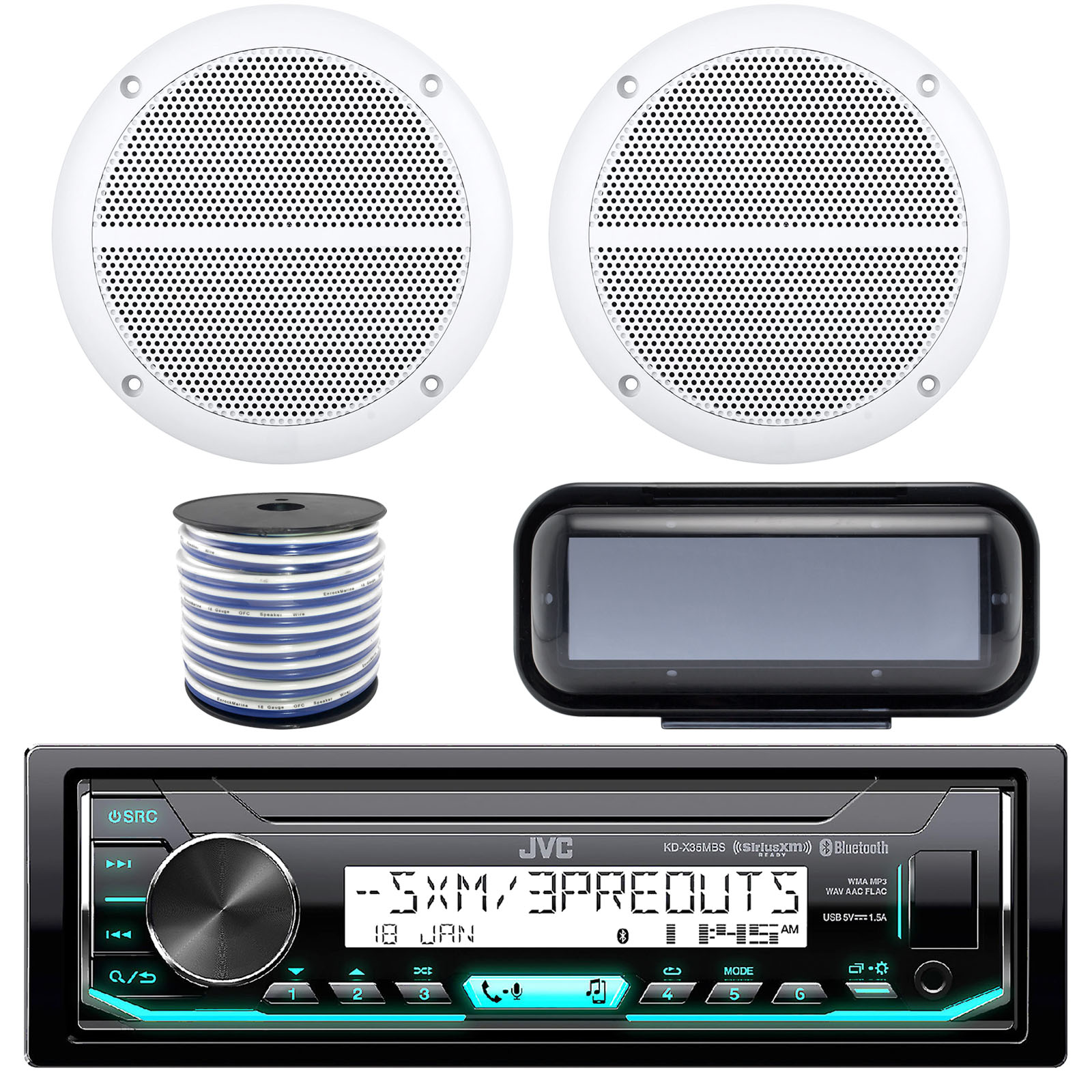 "JVC KD-X35MBS In-Dash Marine Boat Bluetooth Radio USB Receiver Bundle Combo With Pair Of White Enrock EM602W 6.5"" Dual-Cone Stereo Speakers + Stereo Waterproof Cover + 18g 50FT Marine Speaker Wire"