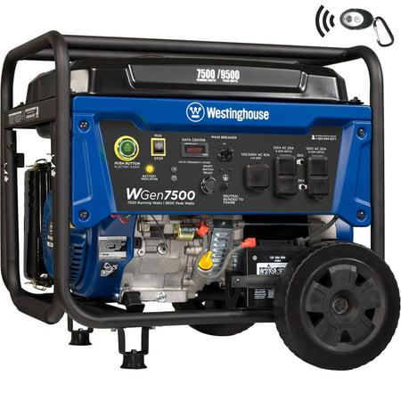 Westinghouse WGen7500 Portable Generator 7500 Rated Watts & 9500 Peak Watts