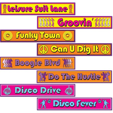 Set Of 60's 70's Disco Street Sign Cutouts Party Decoration for $<!---->