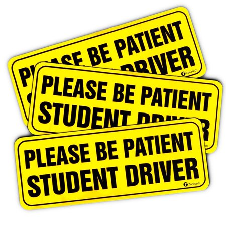 Zone Tech Effective Bumper Decal Please Be Patient Student Driver Car Magnet Black Block Lettering on Neon Yellow - Make Your Own Car Magnet