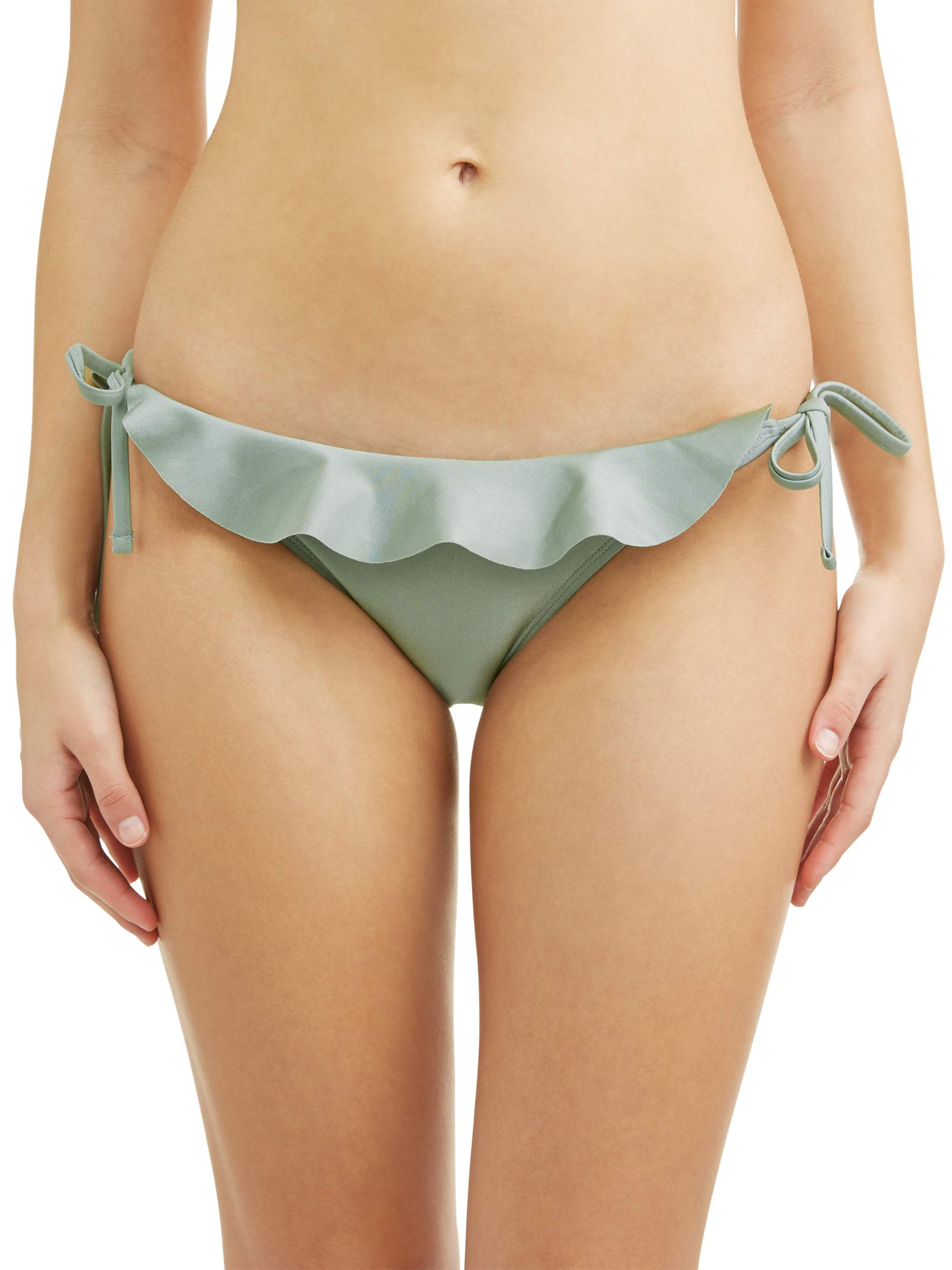 Juniors' Solid Ruffle Swimsuit Bottom