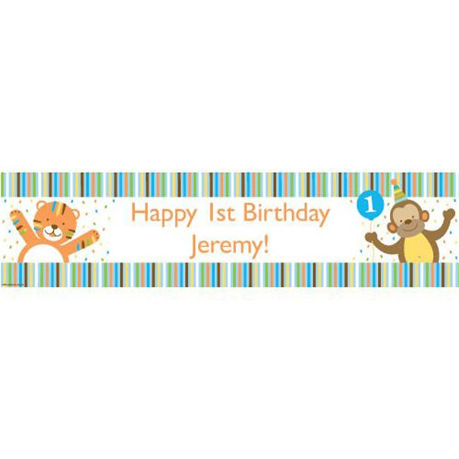 Costume Supercenter BB016399 Baby Animals 1st Birthday Boy Personalized Banner