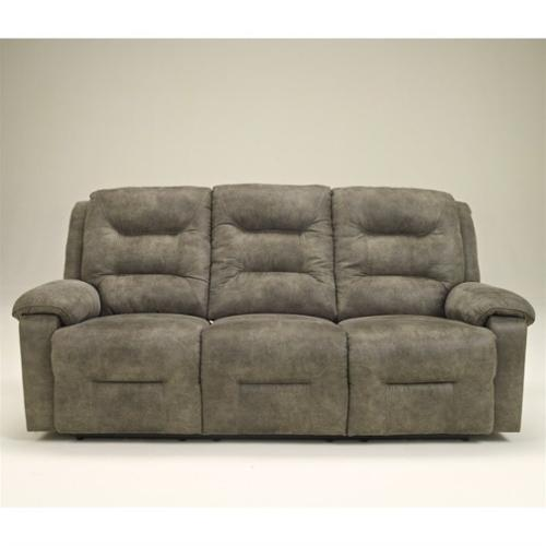Rotation 9750188 88 Reclining Sofa with Divided Back Cushions  Padded Arms and Metal-Drop In Unitized Seat Box in Smoke Color""