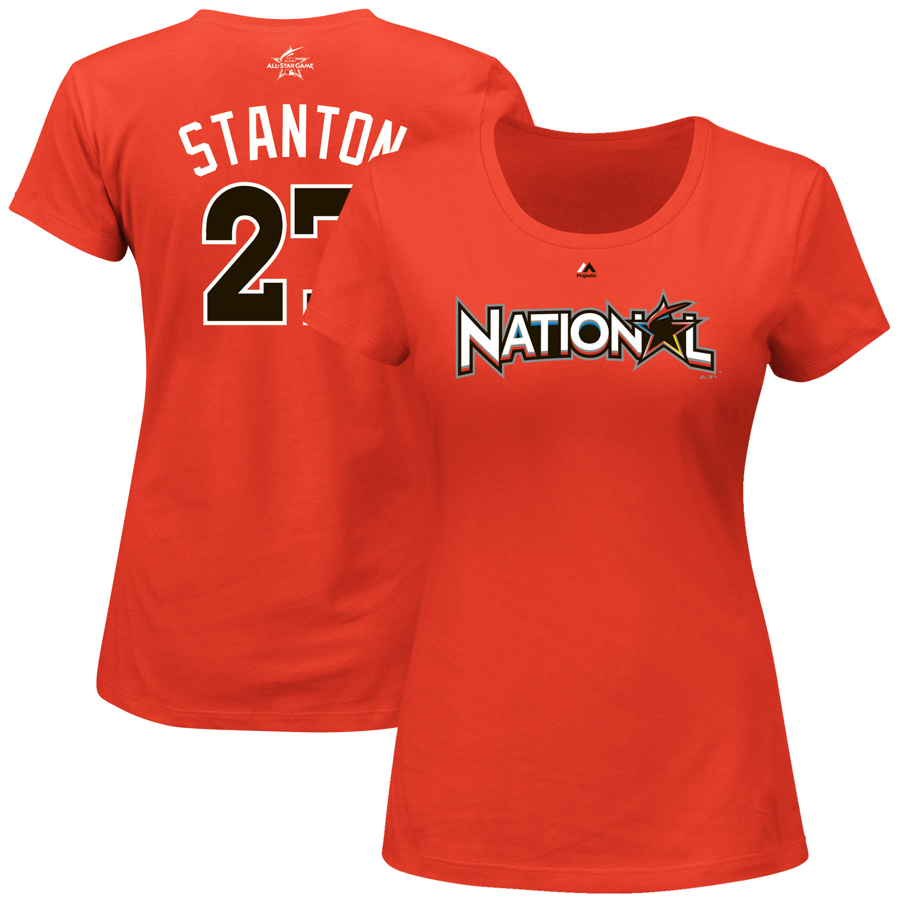 Giancarlo Stanton National League Majestic Women's 2017 MLB All-Star Game Name & Number T-Shirt - Orange