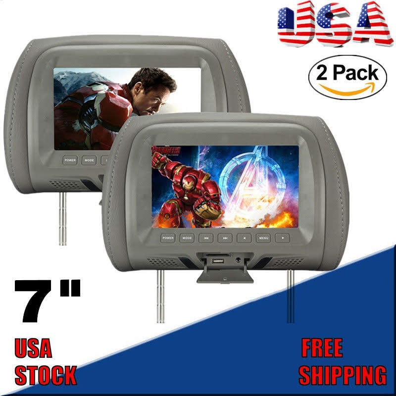 2PCS 7 Inch Car Pillow Monitor LED digi tal Screen Headrest Car DVD Monitor Player Car Headrest TV Monitors With Remote Control