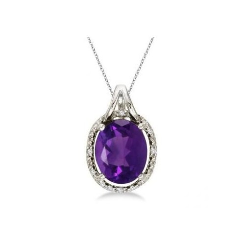 Seven Seas Jewelers Oval Amethyst and Diamond Pendant Necklace 14k White Gold (3.00ct) by Brand New