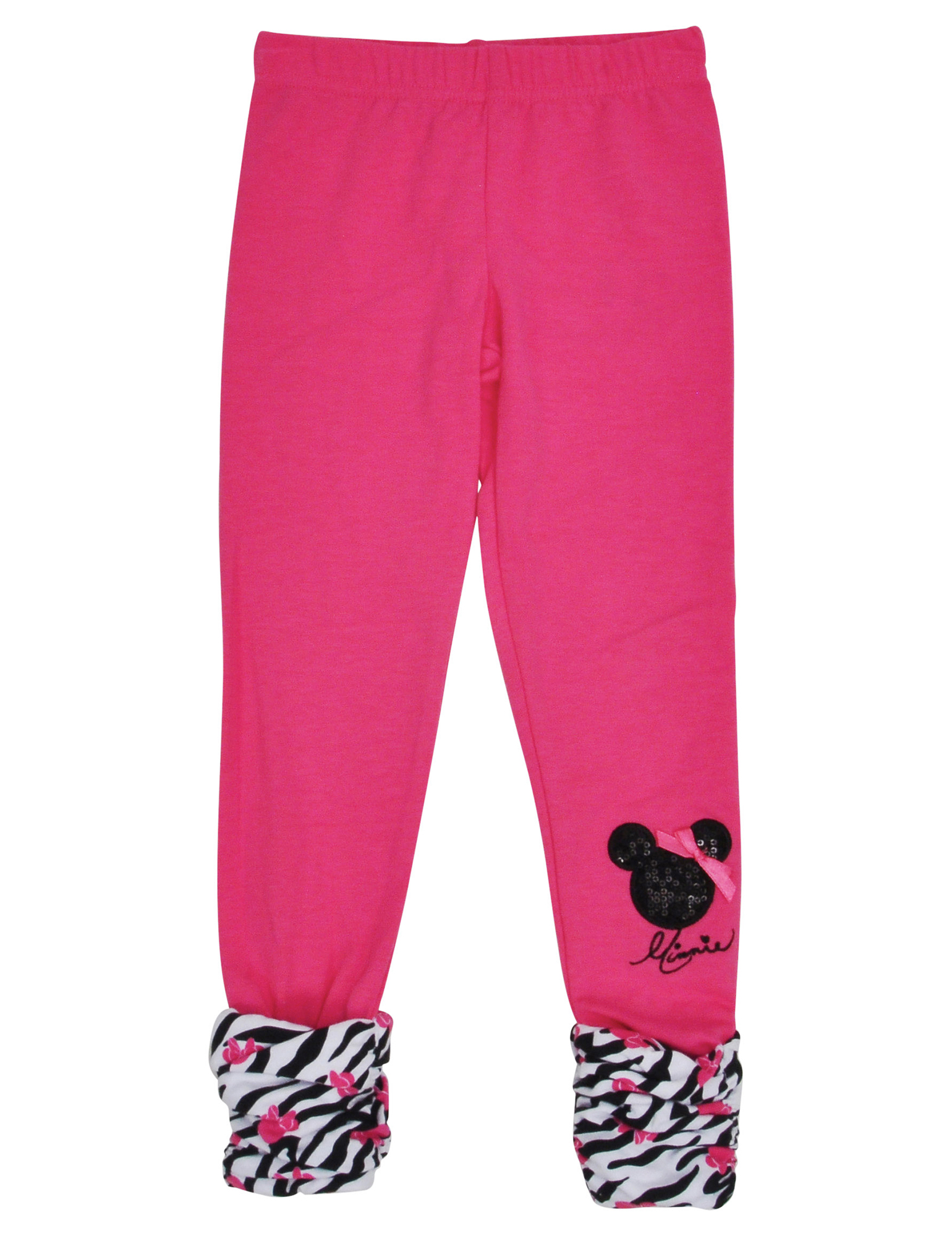 Girls Minnie Mouse Sequin Zebra Print Leggings Pink