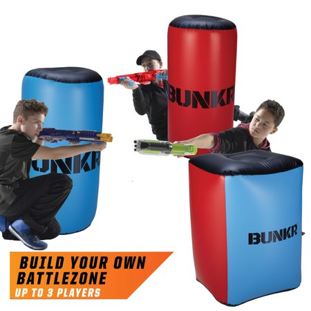 BUNKR Build Your Own Battlezone Inflatable Red Vs. Blue 3 Piece Pack. (Compatible with Nerf, Laser X, X shot and Boom co