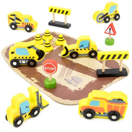 - City Builders Wooden Construction Vehicles, 14-piece Play Set with Trucks, Barriers, Street Signs, and Play Board in Wood Tray by, 14 COLORFUL.., By Imagination Generation