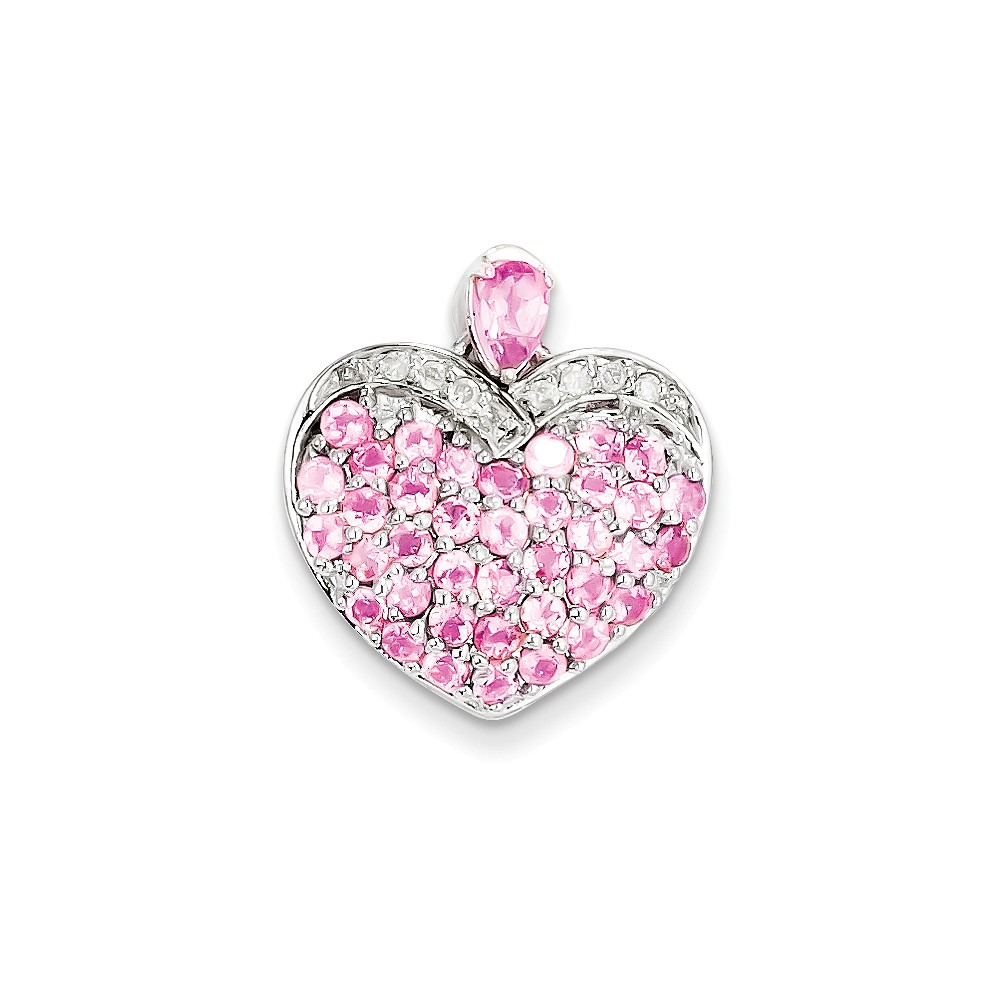 925 Sterling Silver (0.08cttw) Pink Tourmaline and Diamond Heart Pendant (21mm x 19mm) by