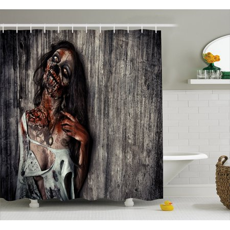 Zombie Shower Curtain, Angry Dead Woman Sacrifice Fantasy Design Mystic Night Halloween Image, Fabric Bathroom Set with Hooks, 69W X 75L Inches Long, Dark Taupe Peach Red, by - Halloween Bathroom Decor