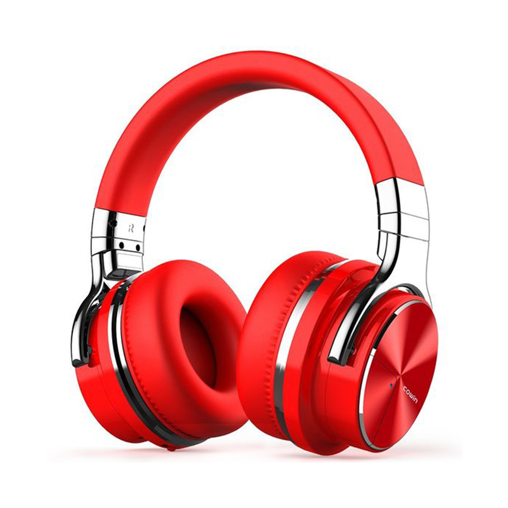 COWIN E7 PRO [2018 Upgraded] Active Noise Cancelling Bluetooth Headphones with Microphone Red