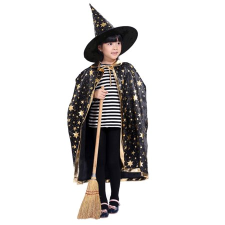 Bowler Hat Halloween Costume (Childrens' Halloween Costume Witch Cloak Cape Robe and Hat for Boy)
