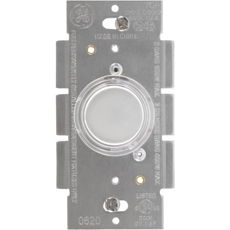 GE Lighted Single Pole Push Dimmer, White/Ivory