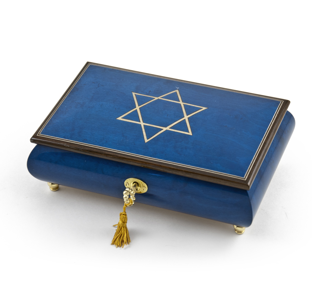 Handcrafted Royal Blue Music Jewelry Box with Star of David Inlay - A Whole New World