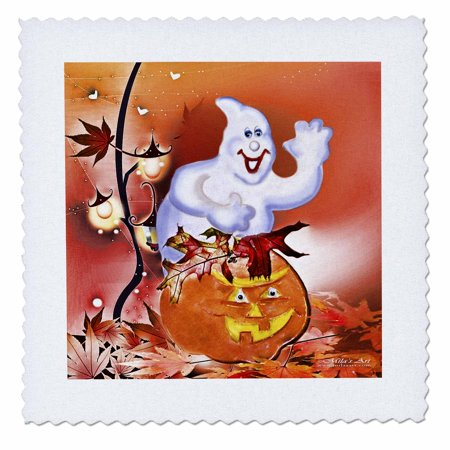 3dRose Halloween Ghost and Pumpkin - Quilt Square, 10 by 10-inch - Halloween Quilt