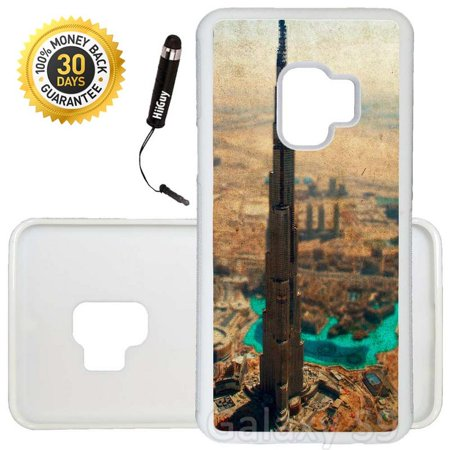 Custom Galaxy S9 Case (City of Dubai Retro) Edge-to-Edge Rubber White Cover Ultra Slim | Lightweight | Includes Stylus Pen by (Dubai Gifts)