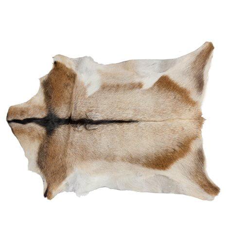 Loon Peak Warke Natural Hand Knotted Calfskin Tan/White Area Rug