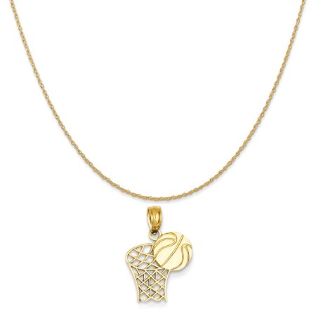 Syracuse Basketball Pendant (14k Yellow Gold Basketball Hoop and Ball Pendant on 14K Yellow Gold Rope Chain Necklace, 20