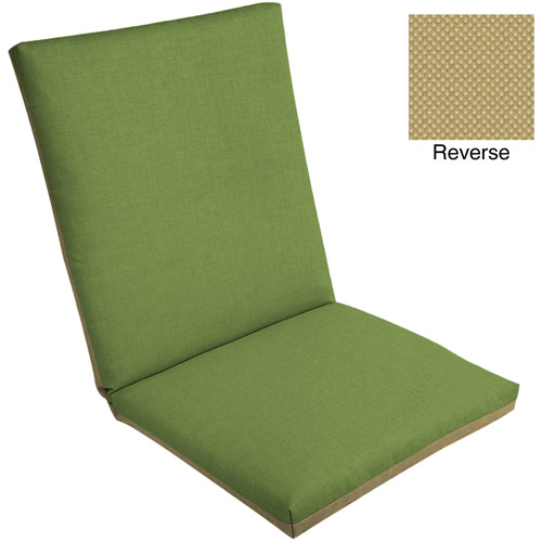 Mainstays Outdoor Dining Chair Pad, Green Crosshatch