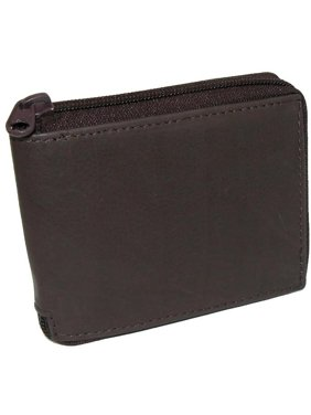 Size one size Men's Leather Zippered Bifold Wallet