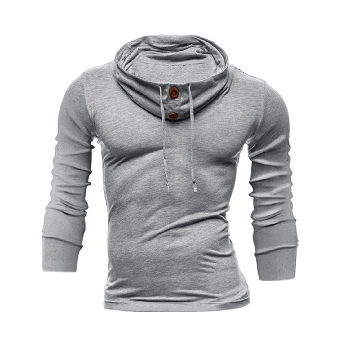 Men Funnel Neck Long Sleeves Buttons Decor Upper Sweatshirt