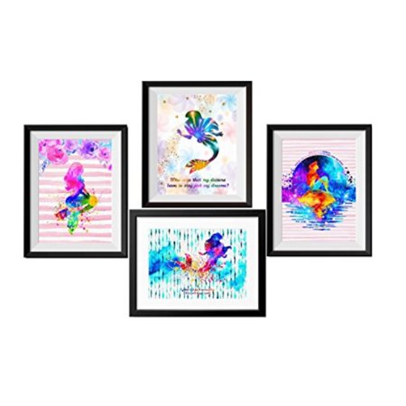 Uhomate 4 pcs Set Princess Ariel The Little Mermaid Abstract Art Canvas  Wall Art Anniversary Gifts Baby Gift Inspirational Quote