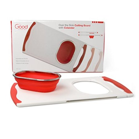 Over the Sink Cutting Board with Collapsible Colander and Extra Long Extension by Good Cooking ()