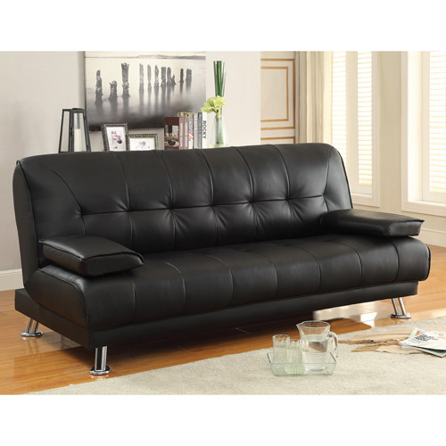 Braxton Leatherette Sofa Bed, Black
