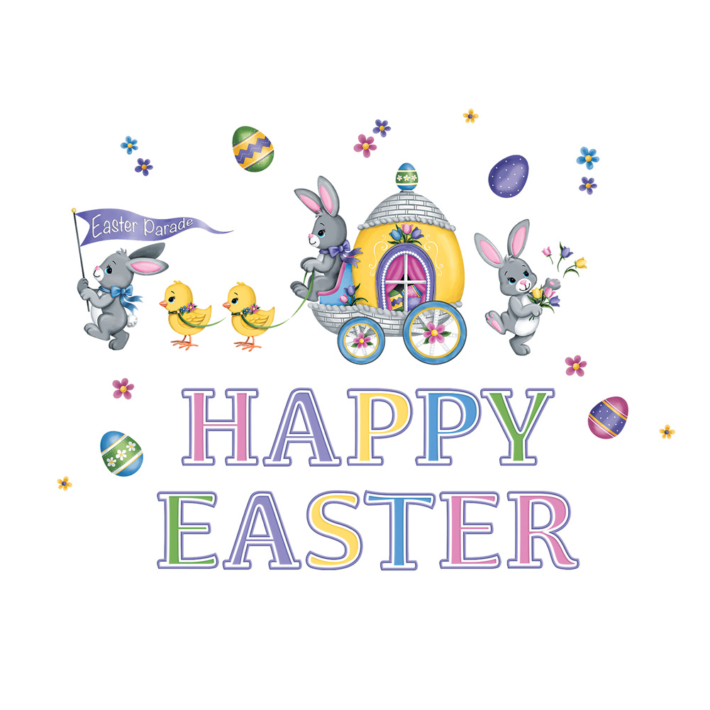 Garage Door Magnet Set Decoration - Happy Easter Bunny & Chick Parade