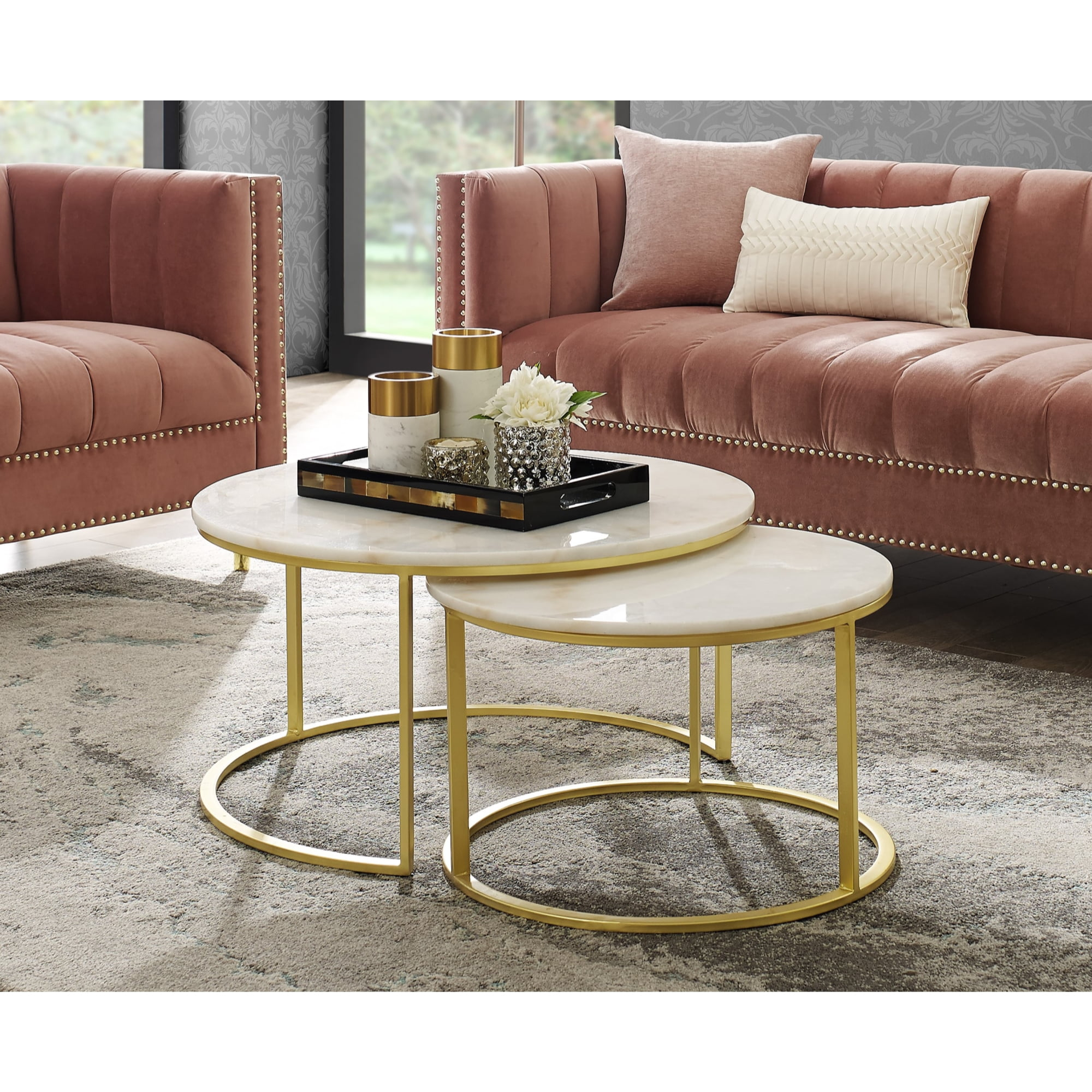 Inspired Home Asbille Nesting Coffee Table Round Natural Marble Top Stackable Metal Base Set Of 2 Gold Walmart Com Walmart Com