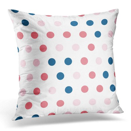 ECCOT Pink Abstract Polka Dot Pattern Blue Circle Pillowcase Pillow Cover Cushion Case 16x16 inch
