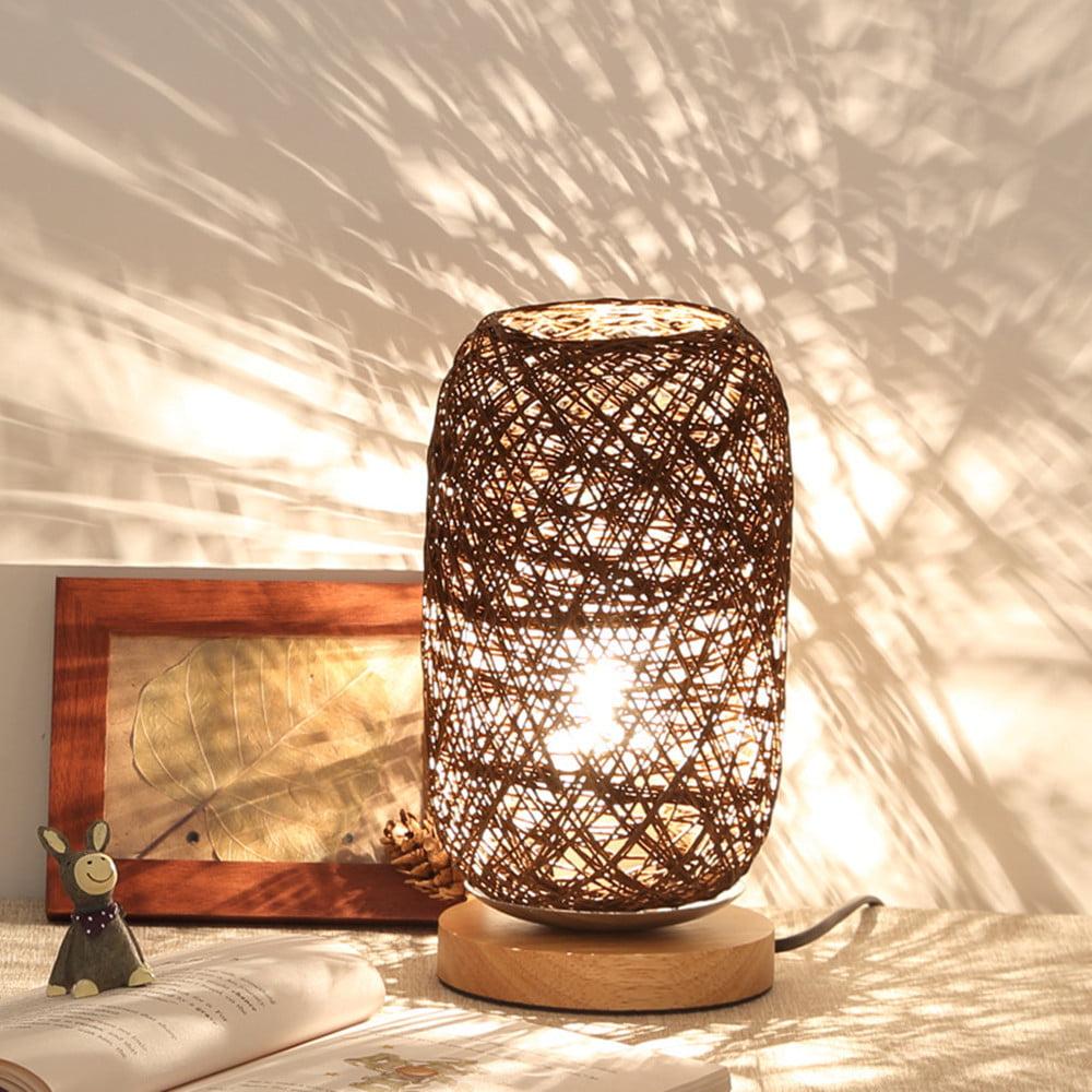 Wood Rattan Twine Ball Lights Table Lamp Room Home Art Decor Desk Light    Walmart.com