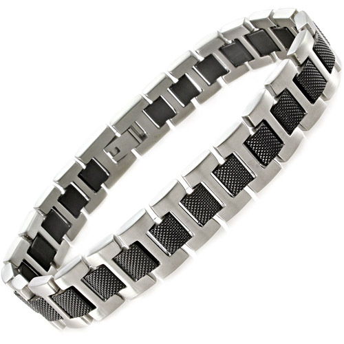 Men's Black and White Stainless Steel Textured Bracelet, 8.5""